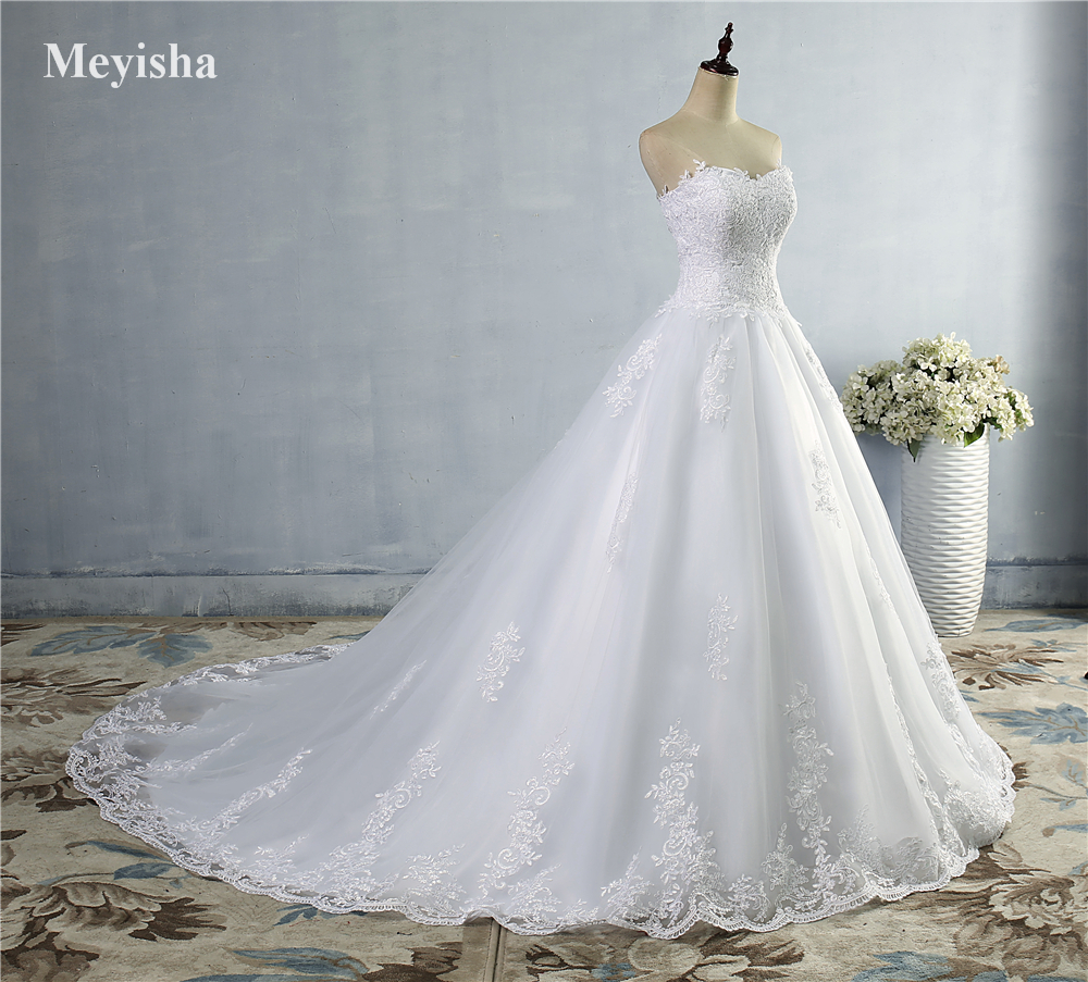 ZJ9059 White Ivory 2016 2017 New Lace Bottom Wedding Dresses Bridal ...