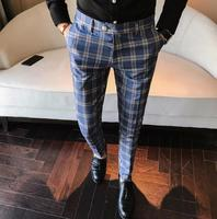 2018 Men Dress Pant Plaid Business Casual Slim Fit Pantalon A Carreau Homme Classic Vintage Check Suit Trousers Wedding Pants