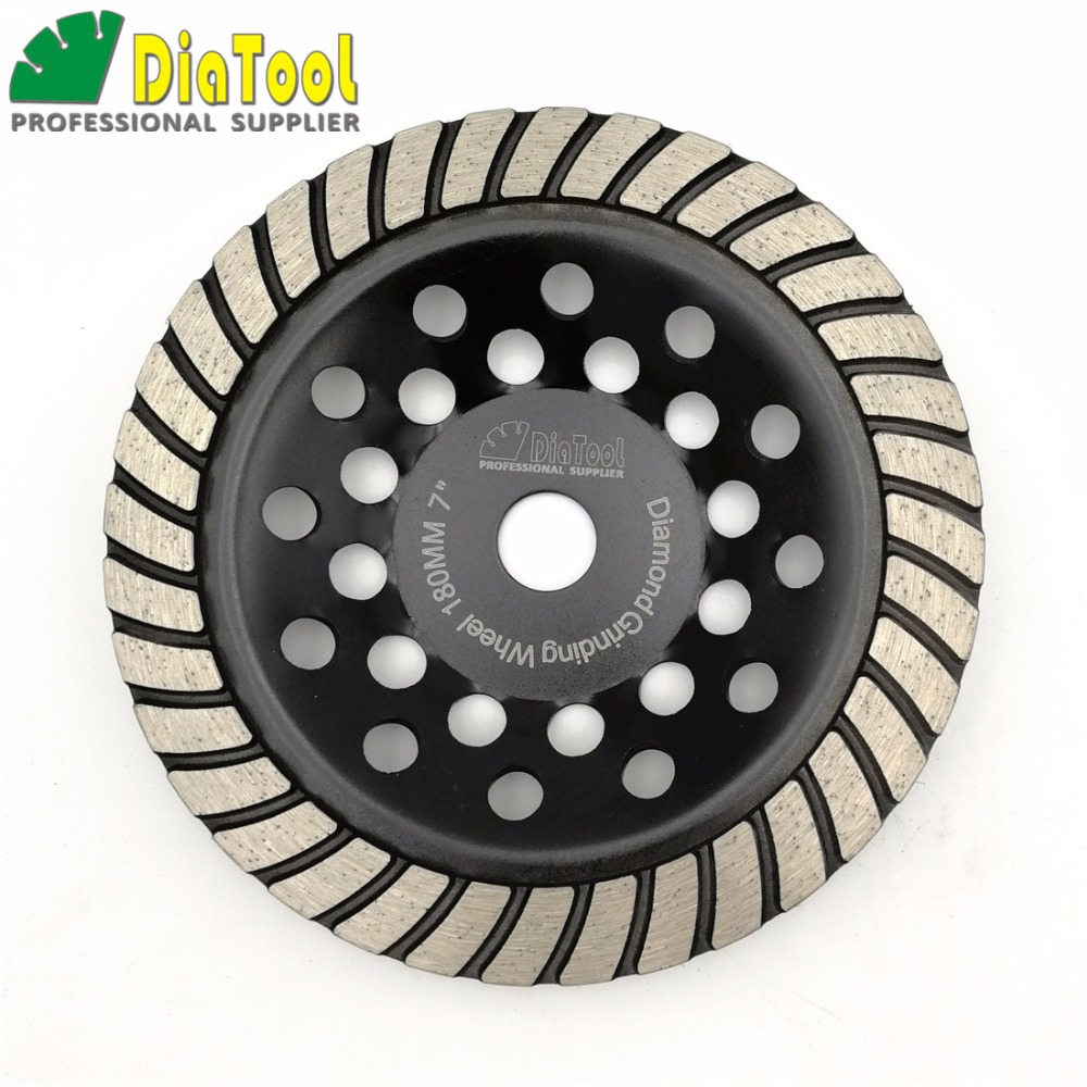 DIATOOL 7/180mm Diamond Spiral Turbo Grinding Cup Wheel, Bore 16mm For Concrete, Brick Grinding z lion 4 diamond cup wheel grit 30 silent core turbo cup grinding aluminum base abrasive tool for concrete granite thread m14
