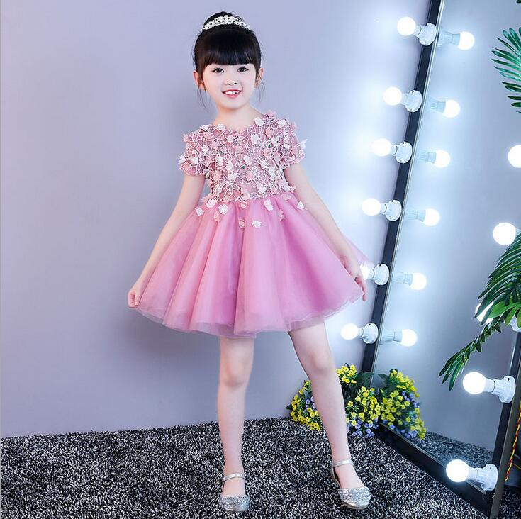 Pink Lace Diamond Flower Girl Wedding Gown Baby Kids Party Pageant Dress For Girl First Communion Dress Children Graduation Gown boutique white children graduation ball gown elegant lace bowknot flower girl dress for wedding