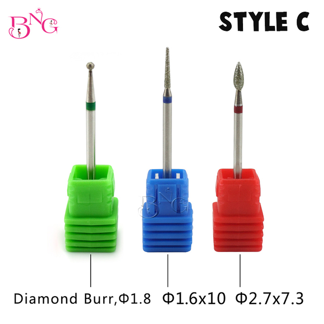 BNG 5ps set Carbide Nail Drill Bit Rotate Burr Cuticle Clean For Electric Machine Manicure Pedicure Tip Diamond Stone Naill File 3