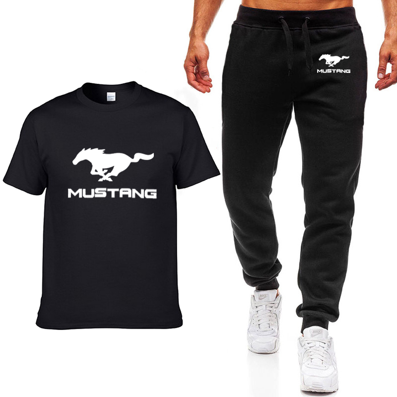 Fashion Summer Men T Shirts Mustang Car Logo Printed Hip Hop Casual Cotton Short Sleeve High Quality T-shirt+pants Suit Clothing