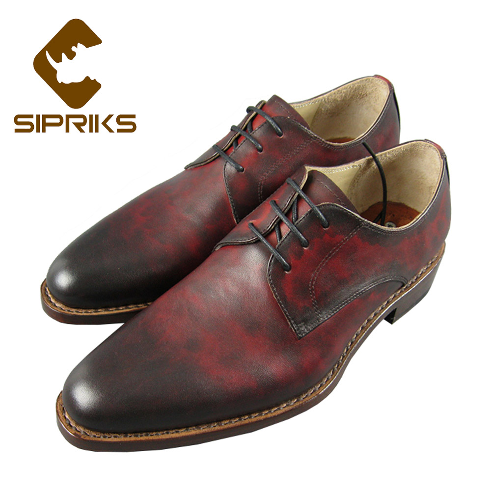 цена Sipriks Luxury Patina Leather Black Red Dress Shoes Classic Mens Goodyear Welted Shoes Boss Leather Shoes Office Work Flats New