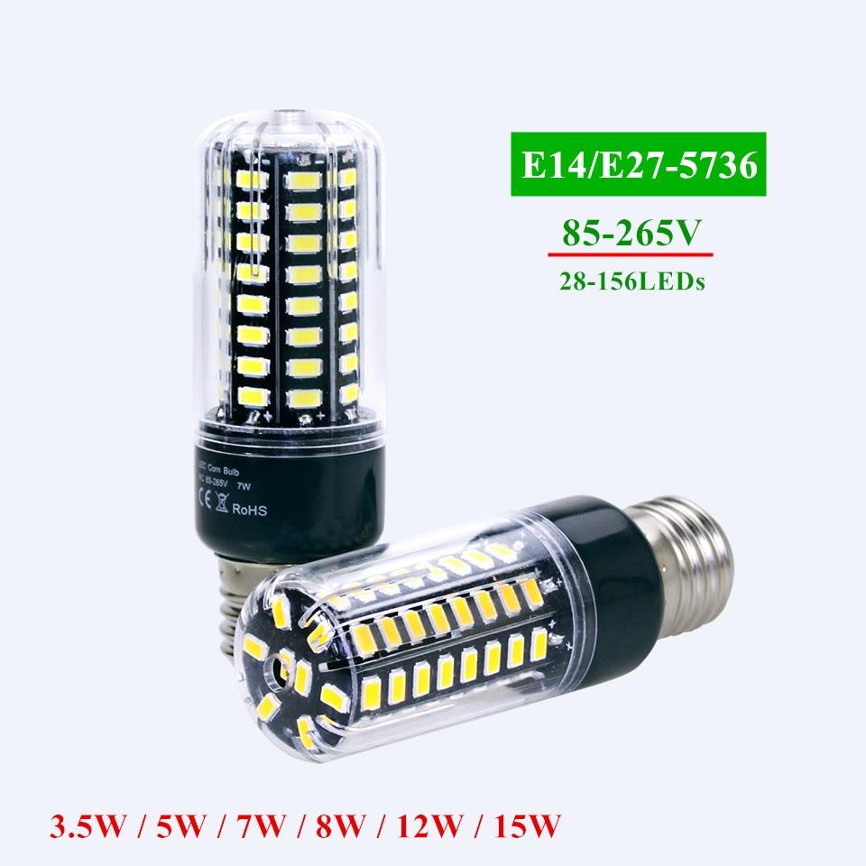 LED Bulb 5736 SMD More Bright 5730 LED Corn lamp Bulb light 3.5W 5W 7W 8W 12W 15W E27 E14 85V-265V No Flicker Constant Current 7w led bulb light e26 e27 g24 g23 e14 7w led corn light corn bulb lamp cob led corn light with aluminum shell 85 265v