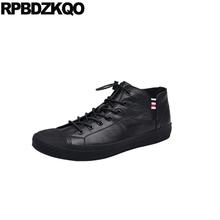 Niestandardowe runway trenerzy zasznurować europejskiej czarny skate luksusowe wysokiej jakości zimowe trampki męskie buty top na co dzień projektant marki 2018 tanie tanio RPBDZKQO CN (pochodzenie) Prawdziwej skóry Skóra bydlęca RUBBER zs51550042762 Lace-up Pasuje prawda na wymiar weź swój normalny rozmiar