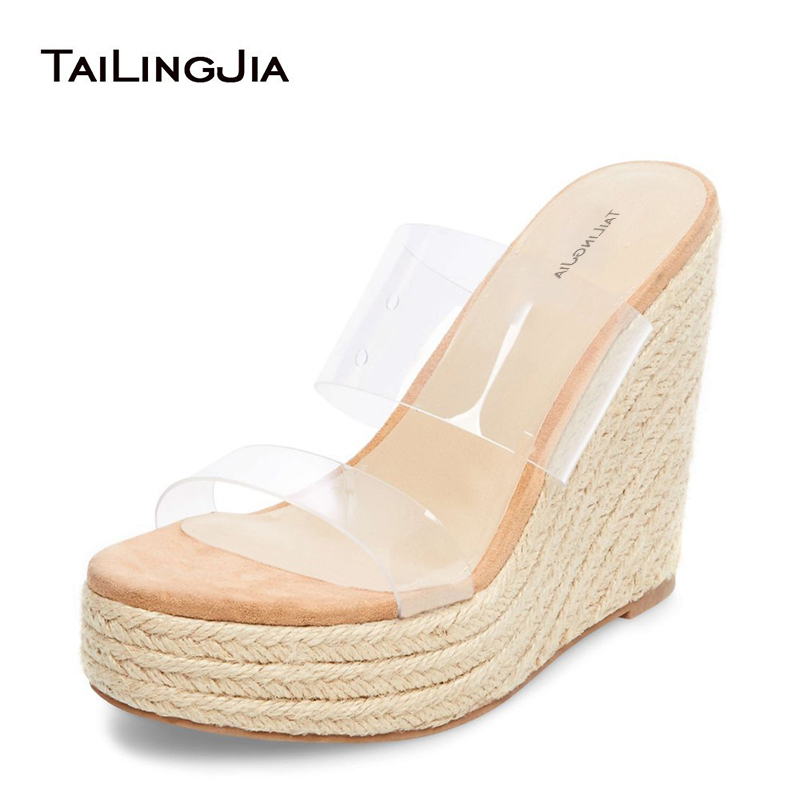 Heeled-Rope Wedge-Heel Sandals Sexy Platform Transparent Summer Shoes Clear Open-Toe