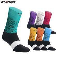 DH спортивные носки для велоспорта с принтом противоскользящие профессиональные MTB дорожные велосипедные носки мужские и женские гоночные носки для бега calcetines ciclismo