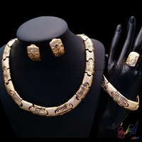 Free Shipping High Quality Zinc Alloy Porcelain Statement Party Gold Plated Four Jewelry Set