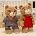40 CM / 60 CM 2016 Movie Ted oso de peluche de 2 juguetes de peluche en delantal suave animales de peluche oso Ted muñecos de peluche YZT0157