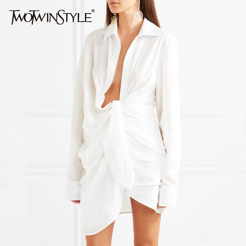 TWOTWINSTYLE Ruched Shirt Women Lace Up Long Sleeve Irregular White Blouse Large Size 2020 Spring Female Sexy Fashion Clothing