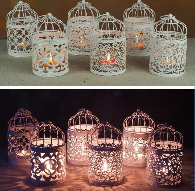 Romantic Hollow Hanging Bird Cage Candle Holder wedding favors Art Candle jar candlesticks wedding hotel bar decorative lights ...
