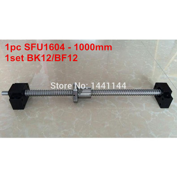 1pc SFU1604 - 1000mm Ball screw  with  BK12/BF12 end machined + 1set  BK12/BF12 Support CNC part