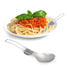 Lixada Titanium Folding Spork Lightweight Outdoor Dinner spork Flatware for Travel Camping Backpacking