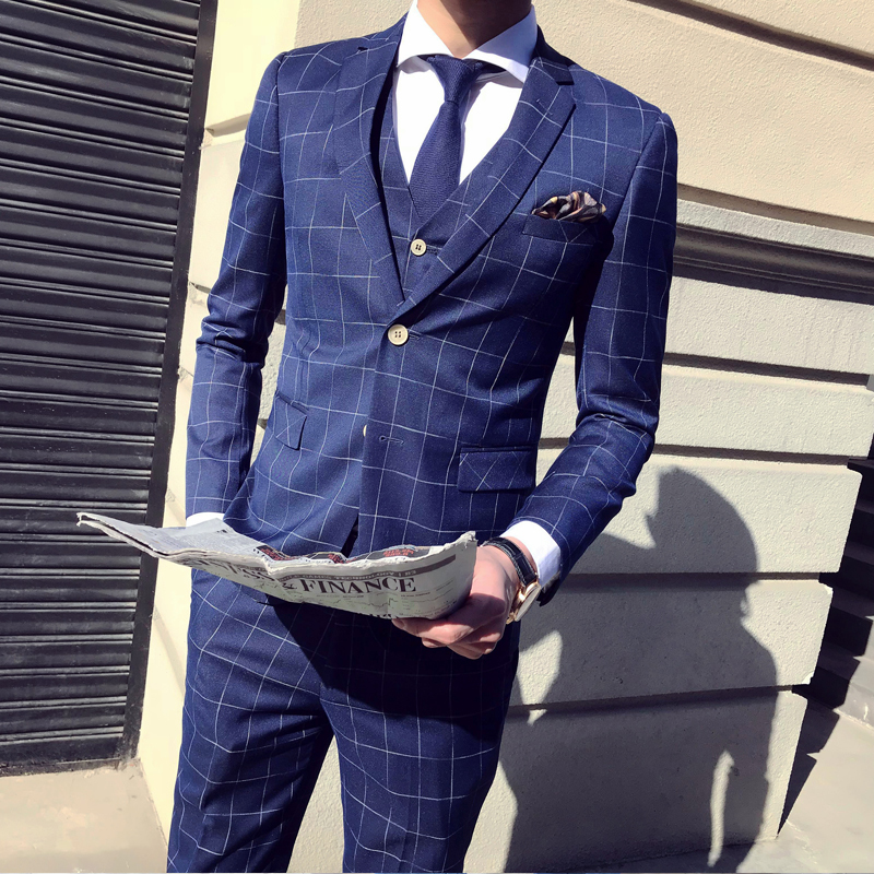 2 Buttons Plaid Check Slim Fit Men Suit Vestito Uomo Smoking Costume Homme Mariage Business Terno Masuclino Check Suit Male 3pcs Last Style