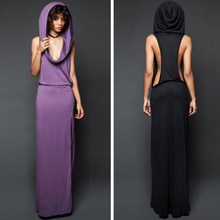 Summer Autumn Women Sexy Solid Backless Dress Fashion Hood Dresses Casual Hippie Style Streetwear