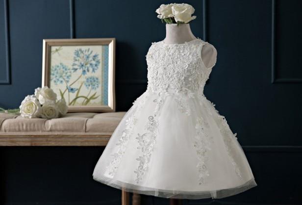 Белое фатиновое бальное платье принцессы с вышитыми бусинами и цветами; платья для девочек; платья для первого причастия и дня рождения; ...