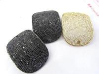 micro pave Diamond Crystal Micro Crystal Pave CZ rectanlge curved bracelet connetor Jewelry beads 30x40mm 2pcs