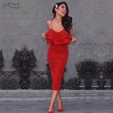 Adyce Women Spring Bandage Dress 2018 Red Spaghetti Strap Vestidos Sheath Strapless Ruffles Mid Celebrity Evening Party Dresses