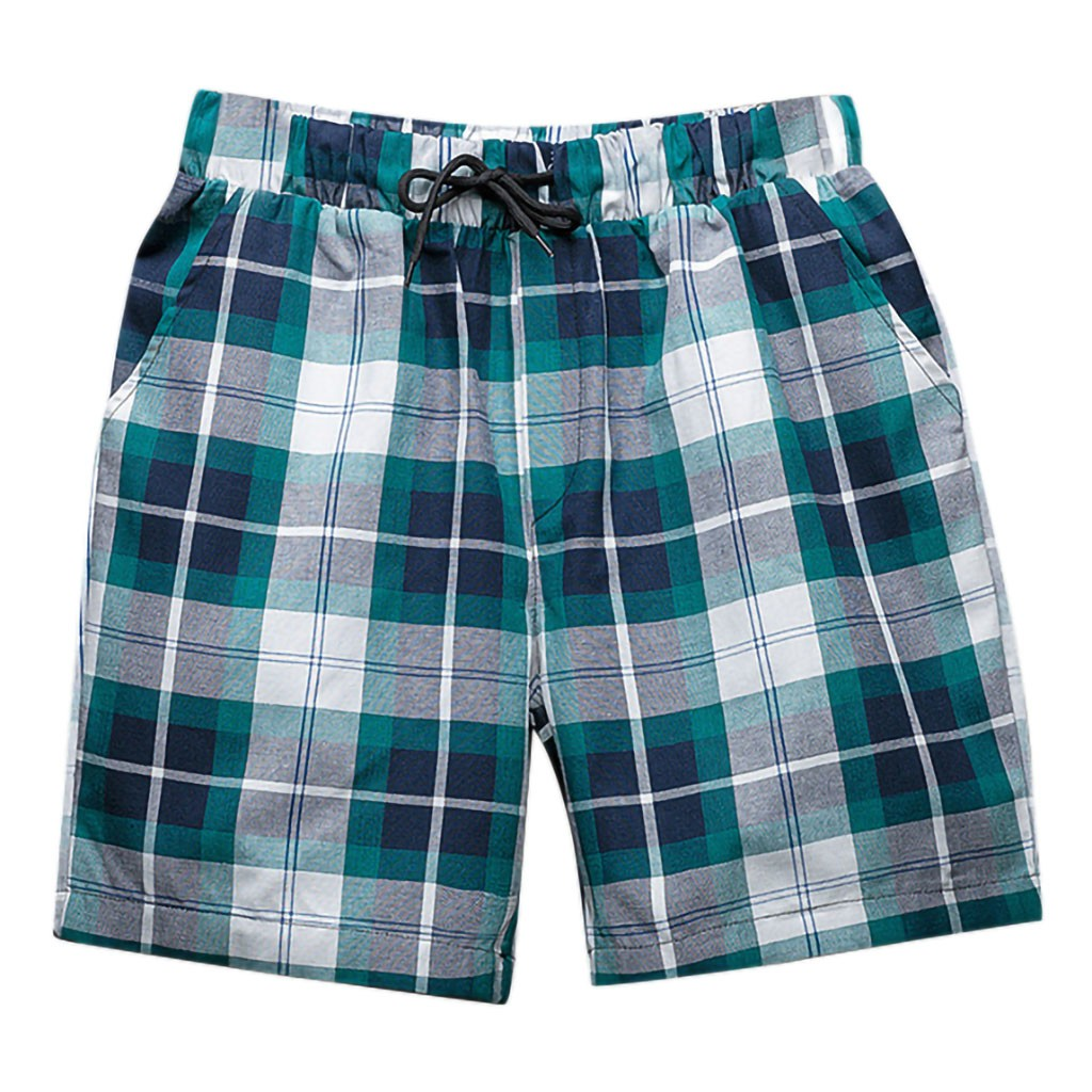 Shorts Wide-Sport Drawstring Mens Fashion Casual Plaid W416 Lattice Broadcloth Slim Leisure