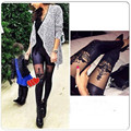 New Fashion Sexy Women Faux Leather Gothic Punk Leggings Pants Lace Skinny Leggings