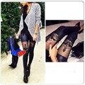 Nueva Manera Mujeres Atractivas de Cuero de Imitación Gótica Punk Leggings Pantalones de Encaje Polainas Flacas