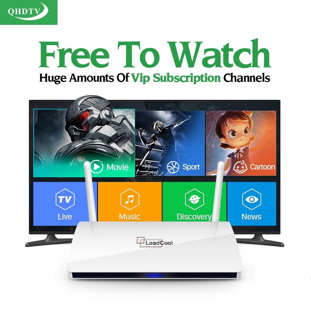 Leadcool Android 6.0 1G 8G IPTV Box QHDTV abonnement Europe français turquie Portugal néerlandais 1300 chaînes 2000VOD IP TV Box