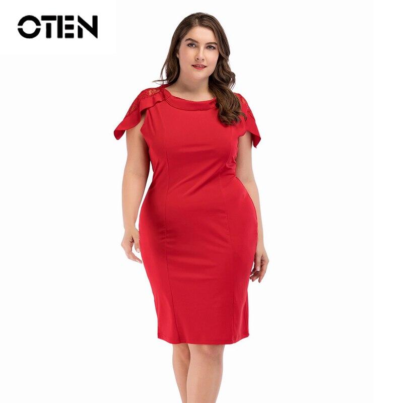 US $21.16 27% OFF|OTEN ladies plus size dresses 2018 Summer Lace Patchwork  Women Elegant Working Office wear Black Red Knee Length Pencil OL dress-in  ...