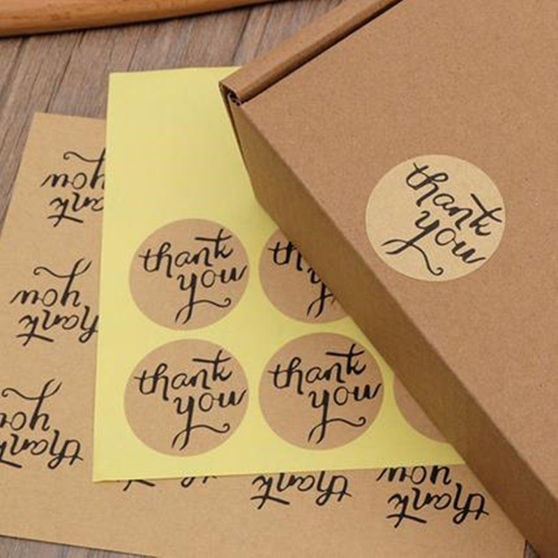 DoreenBeads Brown Paper Simple Thank You Round Adhesive Stickers Gift Bag Package Label DIY Scrapbook 3.8cm Dia, 5 Sets