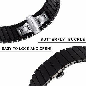 Image 4 - Ремешок керамический для Samsung Galaxy Watch 42 мм 46 мм, быстросъемный стальной браслет с застежкой бабочкой, 20 мм 22 мм
