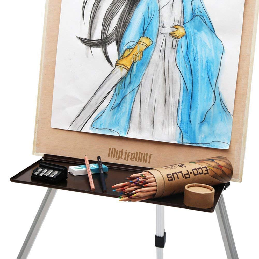 MyLifeUNIT Aluminum Replacement Easel Tray Sketch Watercolor Gouache Sketch Easel Metal Tray Sketch placement shelf