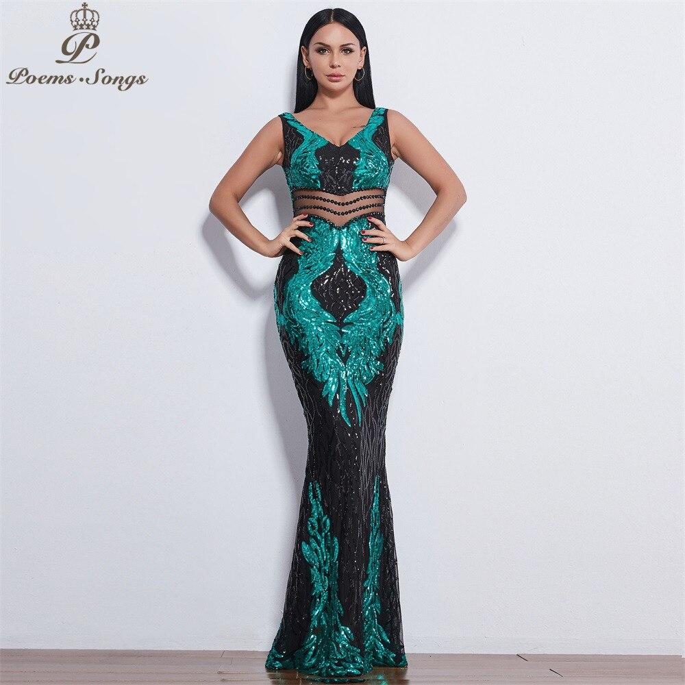 Poems Songs 2019 New Style Angel Wings Sequin Evening Dresses For Women Long Vestido De Festa Evening Gowns Vestidos Elegante