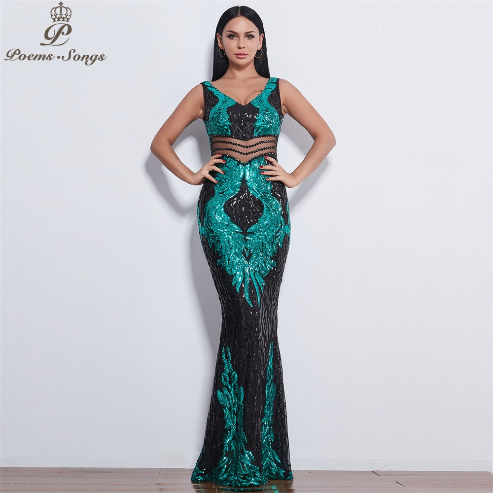 Poems Songs 2019 New style Angel wings Sequin   Evening     dresses   for women long vestido de festa   evening   gowns vestidos elegante