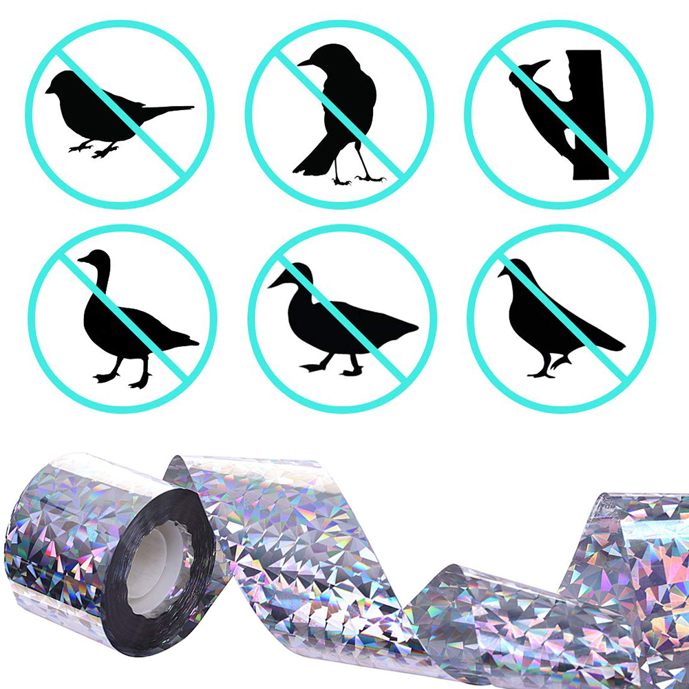 Bird Repellent Scare Tape Audible Repellent Fox Pigeons Repeller Ribbon Tapes Dual Sided Reflective Bird Deterrent Ribbon