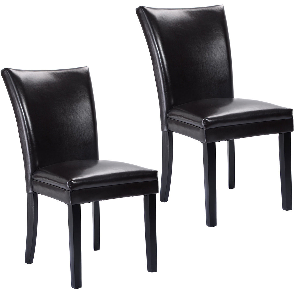 Giantex Set of 2 Elegant Design PU Leather Accent Dining Chairs Modern Home Furniture HW52837BN стоимость