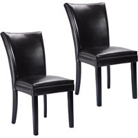 Giantex Set of 2 Elegant Design PU Leather Accent Dining Chairs Modern Home Furniture HW52837BN