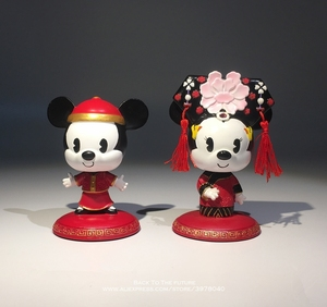 Image 2 - Disney Mickey Mouse Minnie Marry Chinese style 7 9cm Action Figure Anime Decoration Collection Figurine Toy model for children