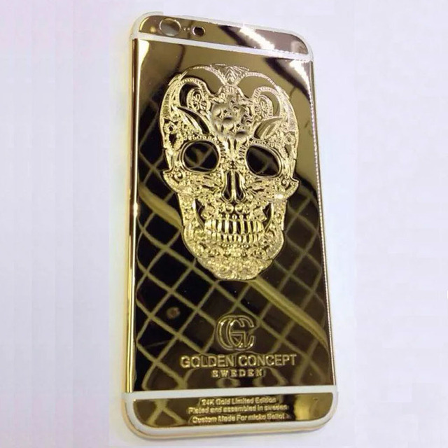 """High Quality 24K Gold Skull Head Battery Housing Back Cover with LOGO& Buttons&Sim Tray For iPhone 6 4.7 """"/ 6Plus 5.5 """""""