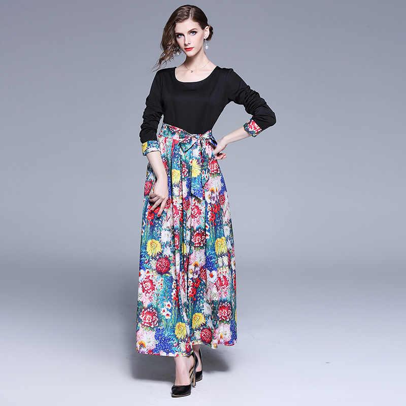 3926800ed3f5b ... Runway 2019 Spring Women Dress Long Sleeve Vintage Floral Print Long  Dresses Patchwork High Waist Sashes ...
