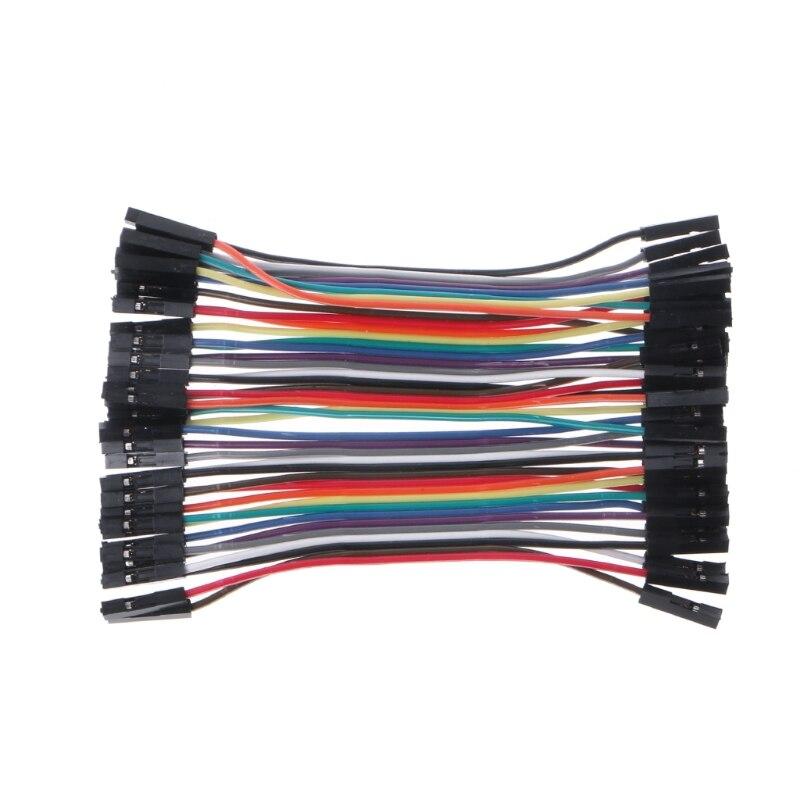 40pcs Dupont Cables Breadboard Jumper M-F M-M F-F Wire Ribbon Lead Arduino Jump
