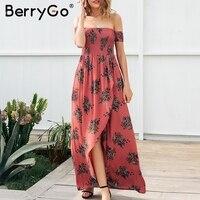 BerryGo Off Shoulder Print Backless Long Summer Dress Women High Waist Floral Maxi Dress Casual Beach