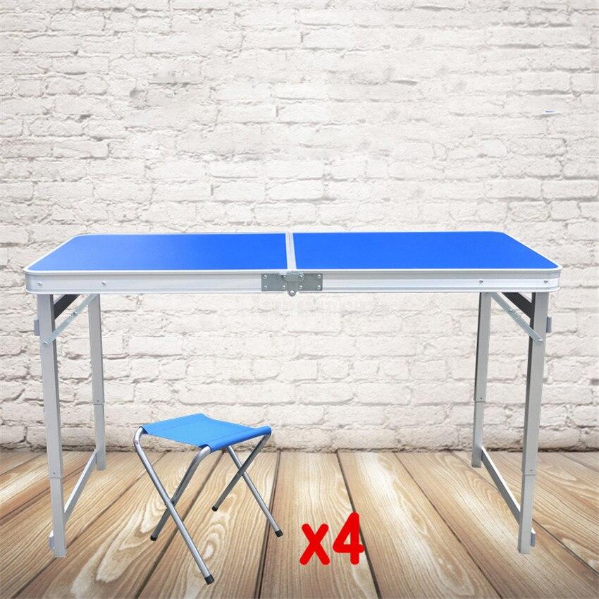Mesa dobrável durável ultra-leve à prova dwaterproof água 120*60 cm mesa dobrável ao ar livre com 4 pces tamborete acampamento piquenique da liga de alumínio