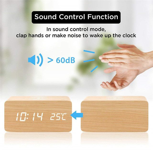 Wooden Alarm Clock With Qi Wireless Charging Pad Compatible With For Iphone Samsung Wood Led Digital Clock Sound Control Funct 2