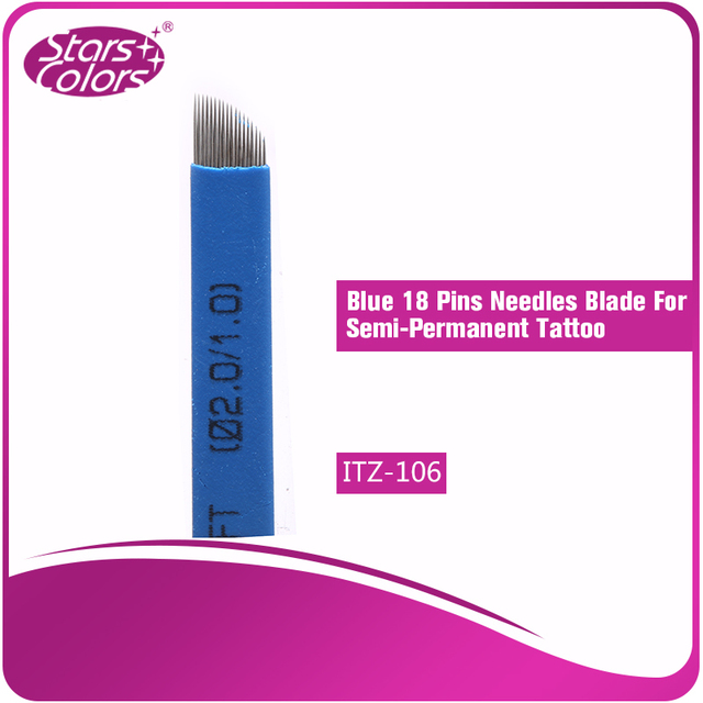 Hot Sell 100 pieces Disposable Goods Make up Tattoo Blade Needles Blue Series 0.20 mm thickness 18 Pins for eyebrow