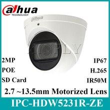 Dahua oryginalny IPC HDW5231R ZE 2MP WDR IR Eyeball Starlight aparatu motorowe obiektyw IR50m wbudowany mikrofon IPC HDW5831R ZE