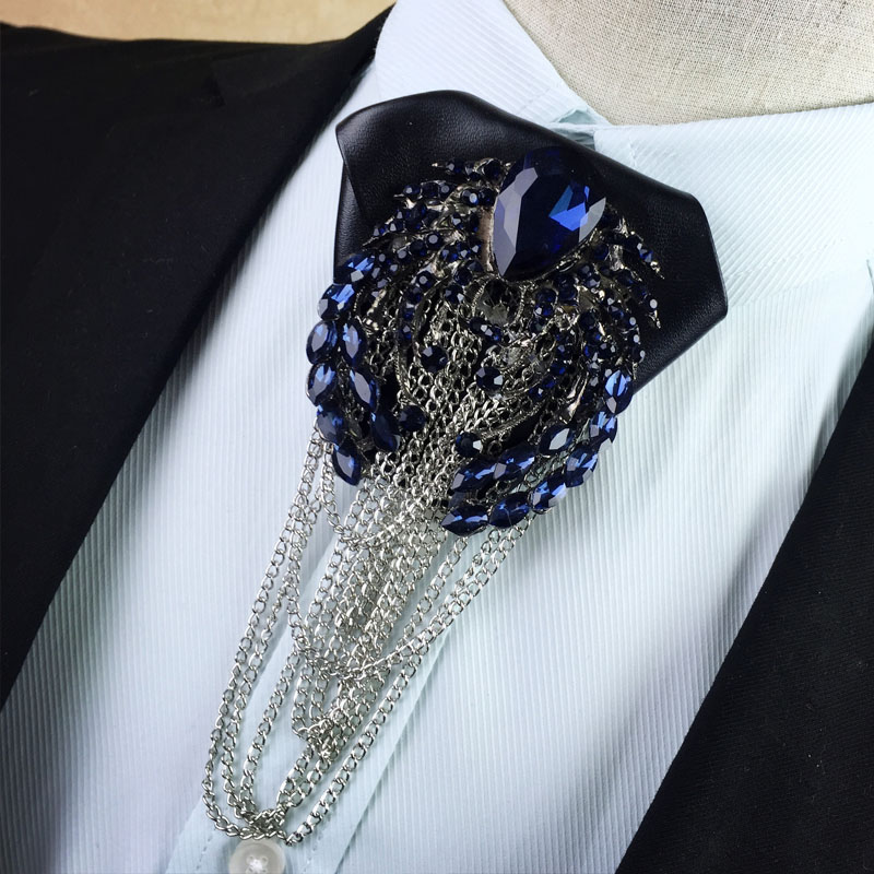 Man Free Shipping Casual New 2018 Man Men's Male Fashion Metal Diamond Tassel Paragraph Korean Men Bow Tie