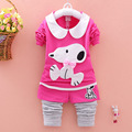 2017 spring new children's cartoon suit girls Korean long-sleeved baby two-piece Korean children's clothing girls set