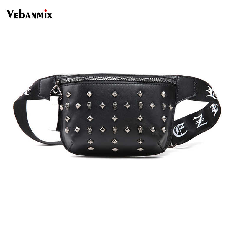 dbbc01375e Vebanmix Leather Waist Bag Men Women Designer Black Fanny Pack Fashion Belt  Bag Unisex Rivet Mobile