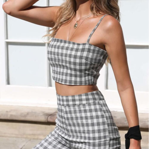 67050c497a84c 2018 New Fashion 2 Piece Clothing Set Women Plaid Crop Top And Pants Suit  ladies Sexy Leisure Two Piece Tracksuit-in Women s Sets from Women s  Clothing on ...