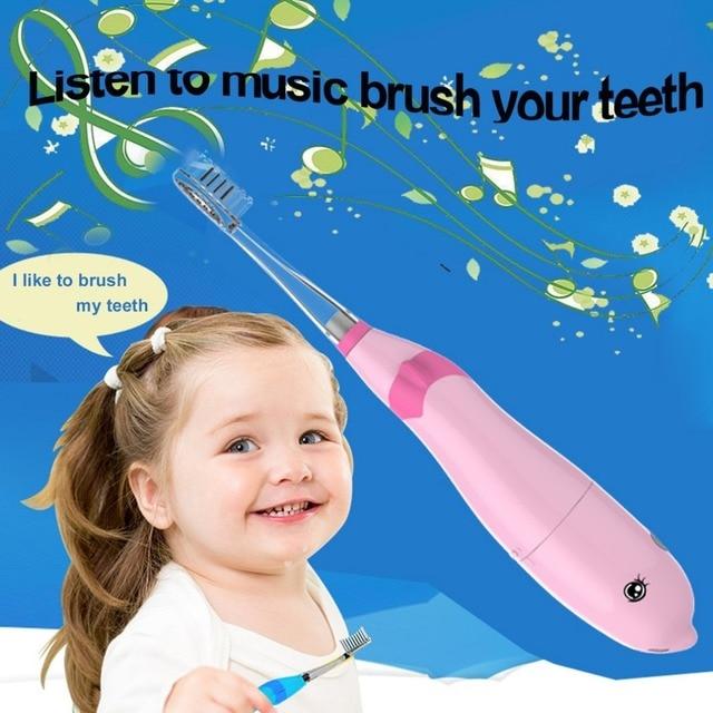 Seago LED niños impermeable cepillo de dientes eléctrico con pilas música niños Sonic cepillo de dientes con luz LED Rosa Portrable