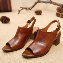 Europäischen stil weibliche sandalen peep toe dick mit vintage frauen sandalen